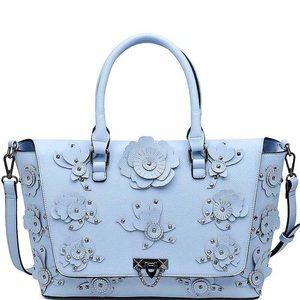 Marine blue satchel gorgeous floral detail
